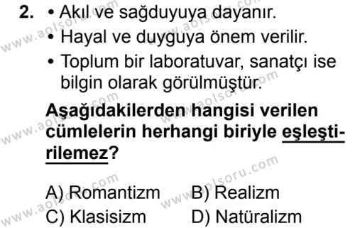 Seçmeli Türk Dili ve Edebiyatı 1 Dersi 2019 - 2020 Yılı 1. Dönem Sınav Soruları 2. Soru