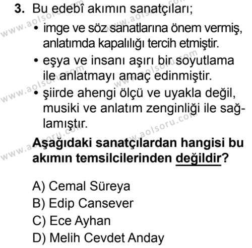 Seçmeli Türk Dili ve Edebiyatı 1 Dersi 2019 - 2020 Yılı 1. Dönem Sınav Soruları 3. Soru