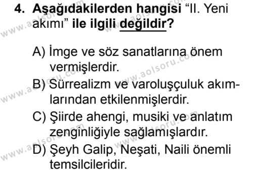 Seçmeli Türk Dili ve Edebiyatı 1 Dersi 2019 - 2020 Yılı 1. Dönem Sınav Soruları 4. Soru