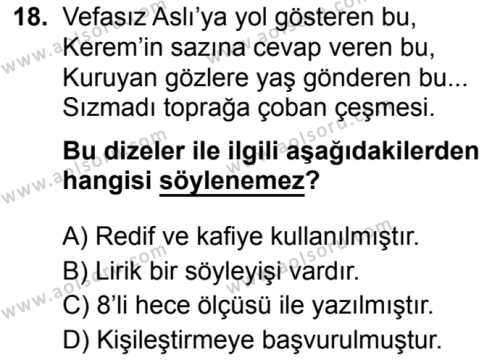 Seçmeli Türk Dili ve Edebiyatı 1 Dersi 2019-2020 Yılı 1. Dönem Sınavı 18. Soru