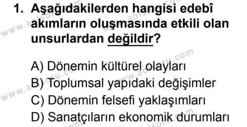 Seçmeli Türk Dili ve Edebiyatı 1 Dersi 2019 - 2020 Yılı 2. Dönem Sınav Soruları 1. Soru