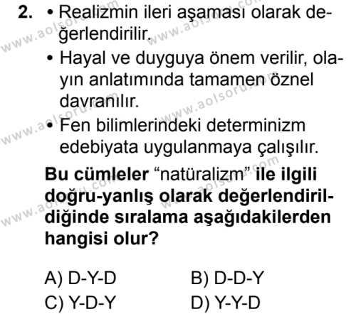 Seçmeli Türk Dili ve Edebiyatı 1 Dersi 2019 - 2020 Yılı 2. Dönem Sınav Soruları 2. Soru