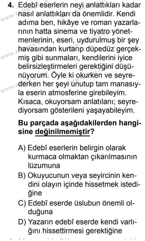 Seçmeli Türk Dili ve Edebiyatı 1 Dersi 2019 - 2020 Yılı 2. Dönem Sınav Soruları 4. Soru