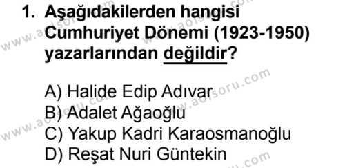 Seçmeli Türk Dili ve Edebiyatı 2 Dersi 2018 - 2019 Yılı 1. Dönem Sınav Soruları 1. Soru