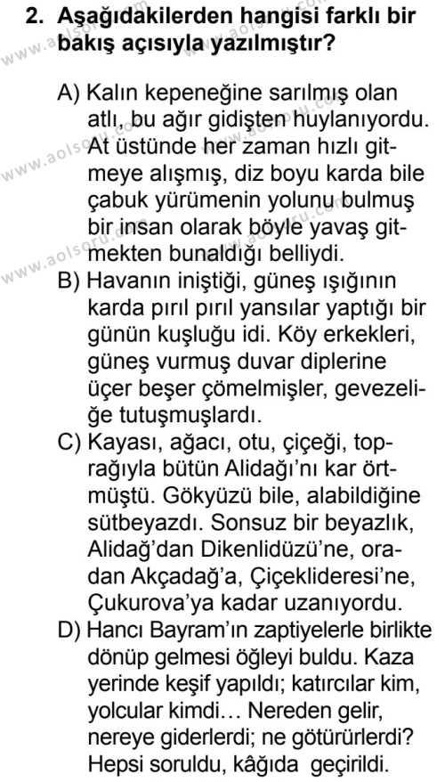 Seçmeli Türk Dili ve Edebiyatı 2 Dersi 2018 - 2019 Yılı 1. Dönem Sınavı 2. Soru