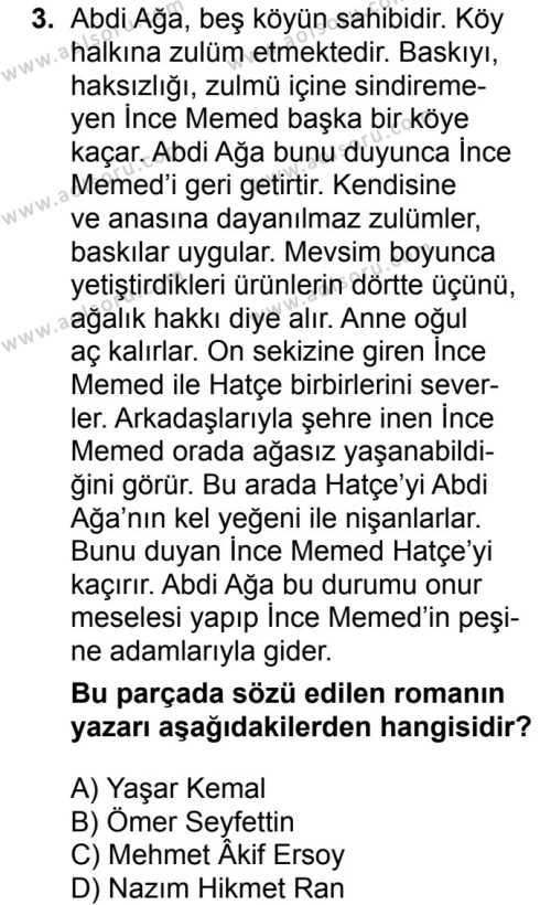 Seçmeli Türk Dili ve Edebiyatı 2 Dersi 2018 - 2019 Yılı 1. Dönem Sınavı 3. Soru