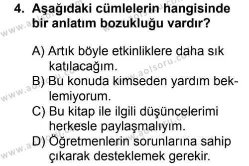 Seçmeli Türk Dili ve Edebiyatı 2 Dersi 2018 - 2019 Yılı 1. Dönem Sınav Soruları 4. Soru