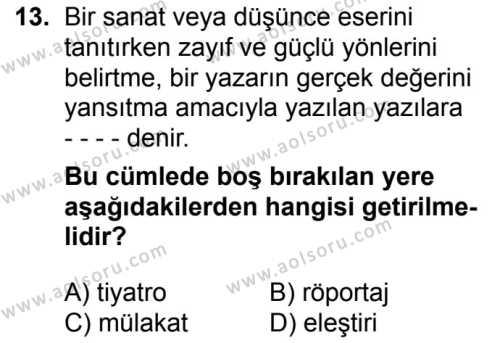 Seçmeli Türk Dili ve Edebiyatı 2 Dersi 2018-2019 Yılı 1. Dönem Sınavı 13. Soru