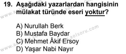Seçmeli Türk Dili ve Edebiyatı 2 Dersi 2018-2019 Yılı 1. Dönem Sınavı 19. Soru