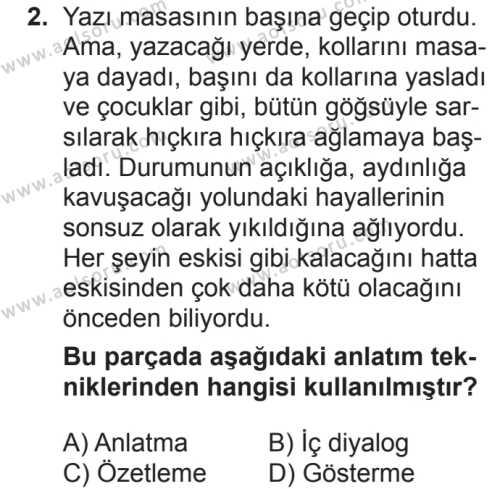 Seçmeli Türk Dili ve Edebiyatı 2 Dersi 2018 - 2019 Yılı 2. Dönem Sınavı 2. Soru