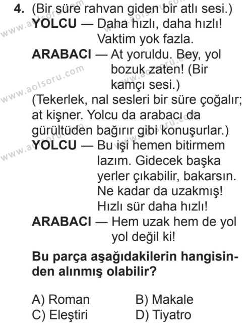 Seçmeli Türk Dili ve Edebiyatı 2 Dersi 2018 - 2019 Yılı 2. Dönem Sınavı 4. Soru