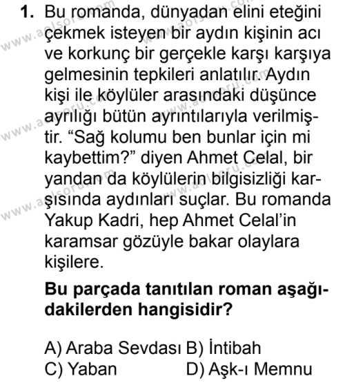 Seçmeli Türk Dili ve Edebiyatı 2 Dersi 2018 - 2019 Yılı 3. Dönem Sınav Soruları 1. Soru
