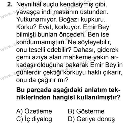 Seçmeli Türk Dili ve Edebiyatı 2 Dersi 2018 - 2019 Yılı 3. Dönem Sınav Soruları 2. Soru