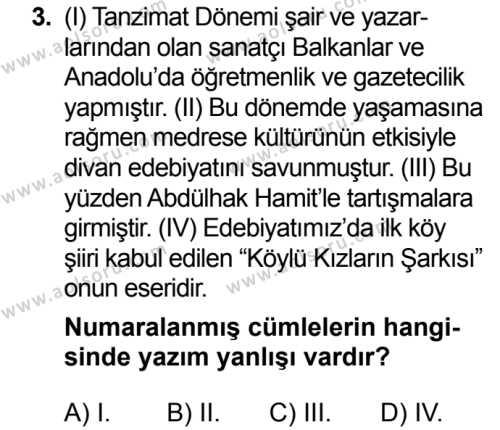 Seçmeli Türk Dili ve Edebiyatı 2 Dersi 2018 - 2019 Yılı 3. Dönem Sınav Soruları 3. Soru