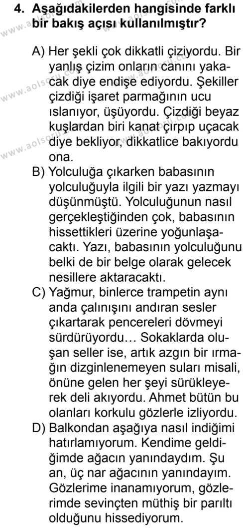 Seçmeli Türk Dili ve Edebiyatı 2 Dersi 2018 - 2019 Yılı 3. Dönem Sınav Soruları 4. Soru