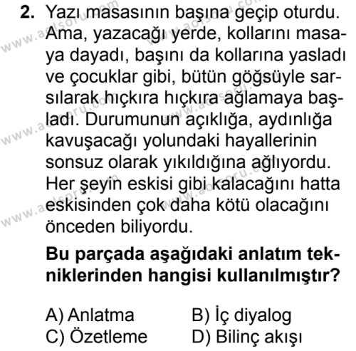 Seçmeli Türk Dili ve Edebiyatı 2 Dersi 2018 - 2019 Yılı Ek Sınavı 2. Soru