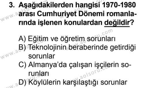Seçmeli Türk Dili ve Edebiyatı 2 Dersi 2018 - 2019 Yılı Ek Sınavı 3. Soru