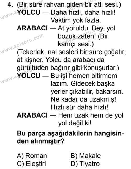 Seçmeli Türk Dili ve Edebiyatı 2 Dersi 2018 - 2019 Yılı Ek Sınavı 4. Soru