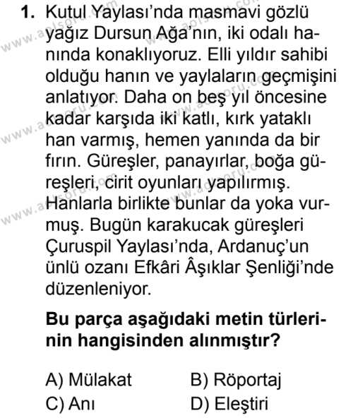 Seçmeli Türk Dili ve Edebiyatı 2 Dersi 2019 - 2020 Yılı 1. Dönem Sınav Soruları 1. Soru