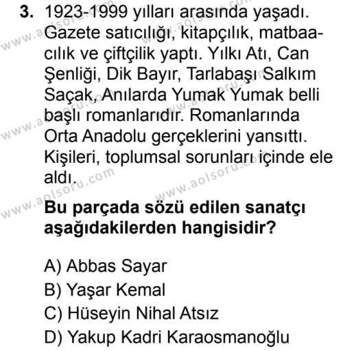 Seçmeli Türk Dili ve Edebiyatı 2 Dersi 2019 - 2020 Yılı 1. Dönem Sınav Soruları 3. Soru