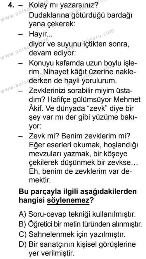 Seçmeli Türk Dili ve Edebiyatı 2 Dersi 2019 - 2020 Yılı 1. Dönem Sınav Soruları 4. Soru