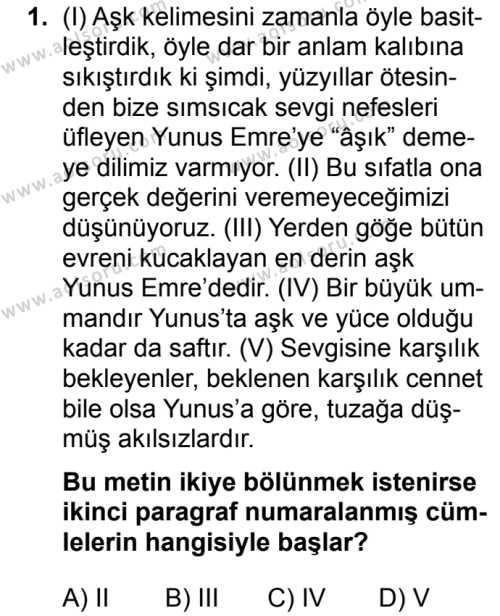 Seçmeli Türk Dili ve Edebiyatı 2 Dersi 2019 - 2020 Yılı 2. Dönem Sınav Soruları 1. Soru