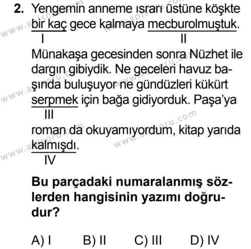 Seçmeli Türk Dili ve Edebiyatı 2 Dersi 2019 - 2020 Yılı 2. Dönem Sınav Soruları 2. Soru