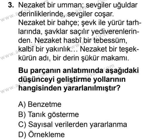 Seçmeli Türk Dili ve Edebiyatı 2 Dersi 2019 - 2020 Yılı 2. Dönem Sınav Soruları 3. Soru