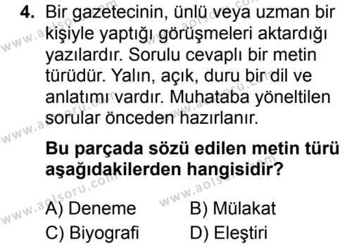 Seçmeli Türk Dili ve Edebiyatı 2 Dersi 2019 - 2020 Yılı 2. Dönem Sınav Soruları 4. Soru