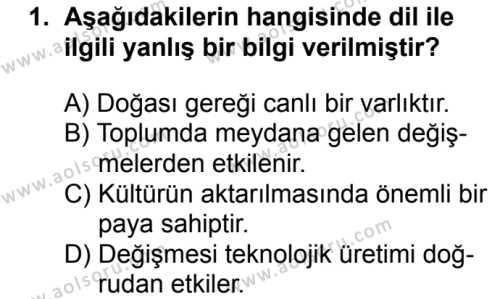 Seçmeli Türk Dili ve Edebiyatı 3 Dersi 2018 - 2019 Yılı 1. Dönem Sınavı 1. Soru