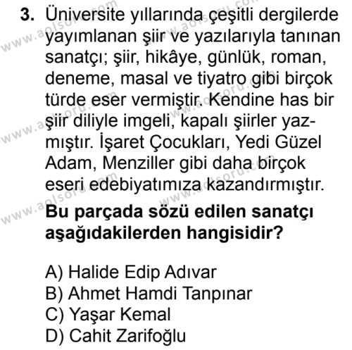 Seçmeli Türk Dili ve Edebiyatı 3 Dersi 2018 - 2019 Yılı 1. Dönem Sınavı 3. Soru