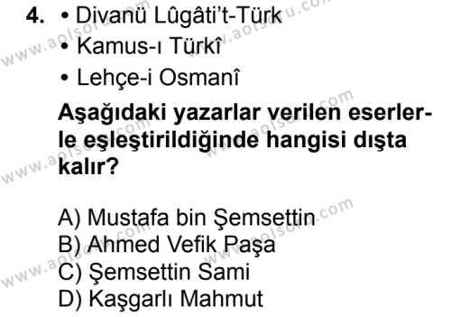 Seçmeli Türk Dili ve Edebiyatı 3 Dersi 2018 - 2019 Yılı 1. Dönem Sınavı 4. Soru