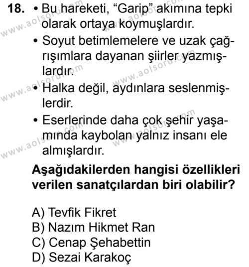 Seçmeli Türk Dili ve Edebiyatı 3 Dersi 2018-2019 Yılı 1. Dönem Sınavı 18. Soru
