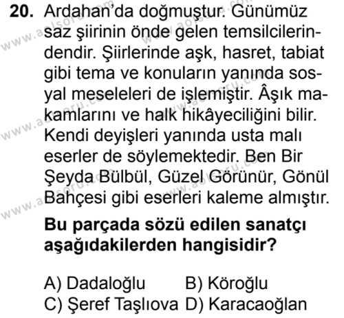 Seçmeli Türk Dili ve Edebiyatı 3 Dersi 2018-2019 Yılı 1. Dönem Sınavı 20. Soru
