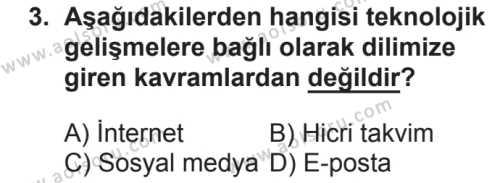 Seçmeli Türk Dili ve Edebiyatı 3 Dersi 2018 - 2019 Yılı 2. Dönem Sınavı 3. Soru