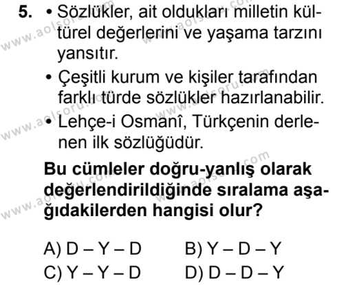 Seçmeli Türk Dili ve Edebiyatı 3 Dersi 2019-2020 Yılı 1. Dönem Sınavı 5. Soru
