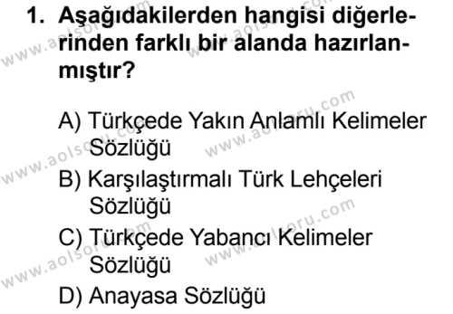 Seçmeli Türk Dili ve Edebiyatı 3 Dersi 2019 - 2020 Yılı 2. Dönem Sınav Soruları 1. Soru