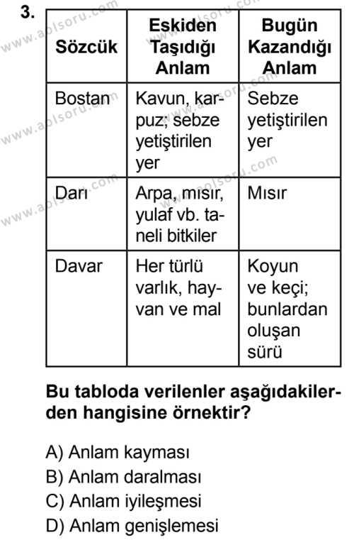 Seçmeli Türk Dili ve Edebiyatı 3 Dersi 2019 - 2020 Yılı 2. Dönem Sınav Soruları 3. Soru