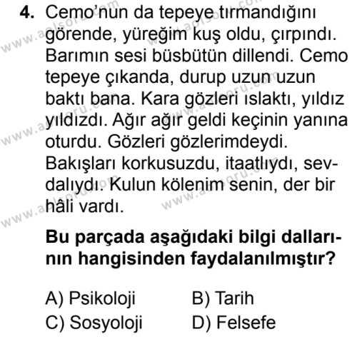 Seçmeli Türk Dili ve Edebiyatı 3 Dersi 2019 - 2020 Yılı 2. Dönem Sınav Soruları 4. Soru