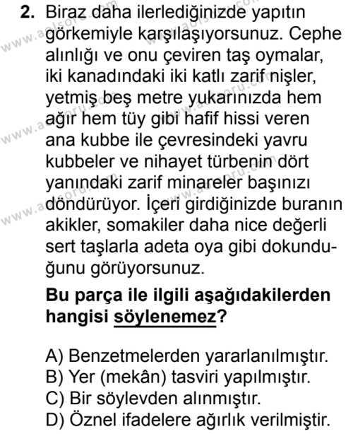 Seçmeli Türk Dili ve Edebiyatı 4 Dersi 2018 - 2019 Yılı 1. Dönem Sınavı 2. Soru