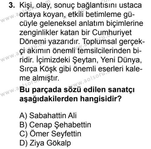 Seçmeli Türk Dili ve Edebiyatı 4 Dersi 2018 - 2019 Yılı 1. Dönem Sınavı 3. Soru