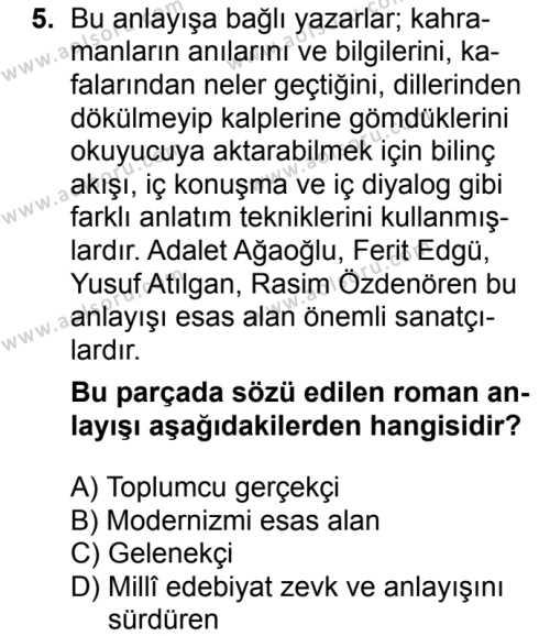 Seçmeli Türk Dili ve Edebiyatı 4 Dersi 2018-2019 Yılı 1. Dönem Sınavı 5. Soru