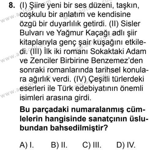 Seçmeli Türk Dili ve Edebiyatı 4 Dersi 2018-2019 Yılı 1. Dönem Sınavı 8. Soru
