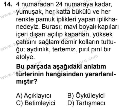Seçmeli Türk Dili ve Edebiyatı 4 Dersi 2018-2019 Yılı 1. Dönem Sınavı 14. Soru