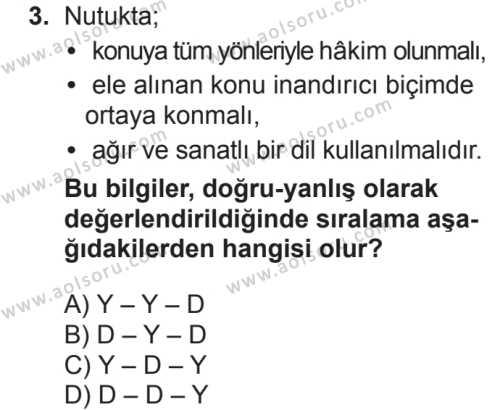 Seçmeli Türk Dili ve Edebiyatı 4 Dersi 2018 - 2019 Yılı 2. Dönem Sınavı 3. Soru