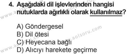 Seçmeli Türk Dili ve Edebiyatı 4 Dersi 2018 - 2019 Yılı 2. Dönem Sınavı 4. Soru
