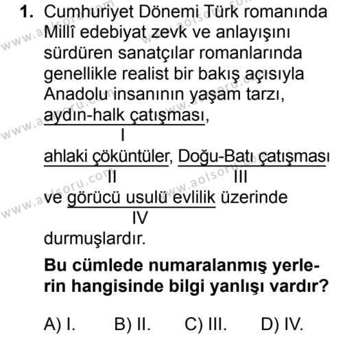 Seçmeli Türk Dili ve Edebiyatı 4 Dersi 2018 - 2019 Yılı 3. Dönem Sınav Soruları 1. Soru