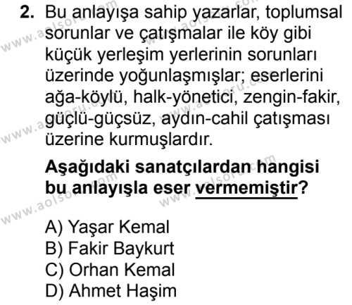 Seçmeli Türk Dili ve Edebiyatı 4 Dersi 2018 - 2019 Yılı 3. Dönem Sınav Soruları 2. Soru