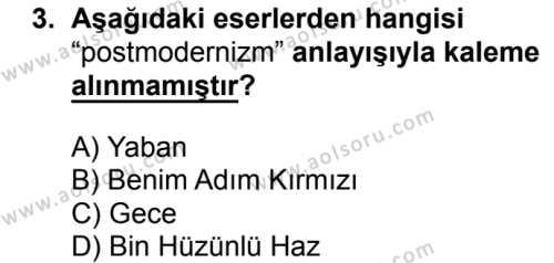 Seçmeli Türk Dili ve Edebiyatı 4 Dersi 2018 - 2019 Yılı 3. Dönem Sınav Soruları 3. Soru
