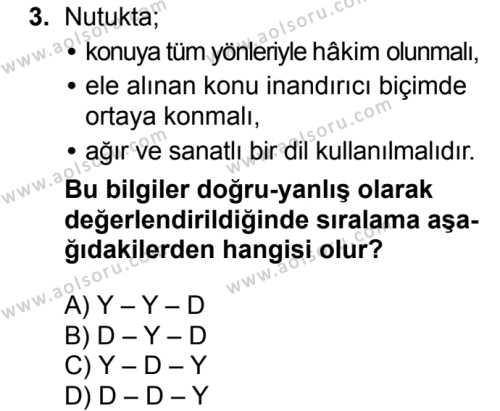 Seçmeli Türk Dili ve Edebiyatı 4 Dersi 2018 - 2019 Yılı Ek Sınav Soruları 3. Soru